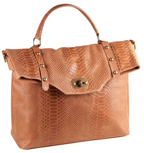 Pelle Italy Vera Pelle Tasche Genuine Leather Shopper Cognac